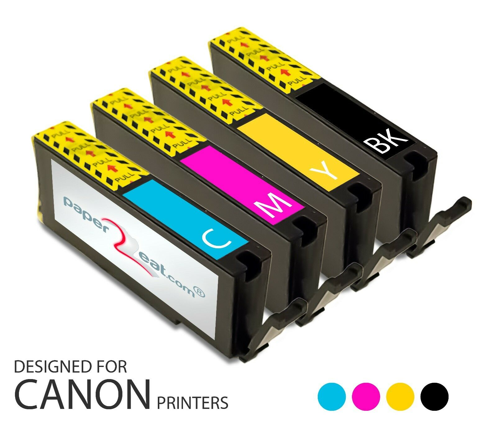Set of 4 Refillable Edible Ink Cartridges for Canon MX722 CLI-251 Series