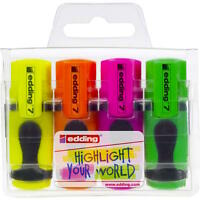 EDDING MINI HIGHLIGHTER PENS - SET OF 4 Assorted Colours