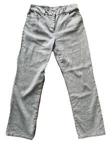 Per-Una-M-amp-S-Light-Grey-Linen-Cotton-Blend-Trousers-Straight-Leg-Pockets-Size-12S
