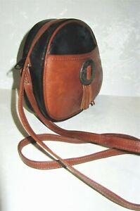 L-J-SIMONE-New-York-Chic-Leather-Western-Black-amp-Brown-Crossbody-Bag-Purse-EUC