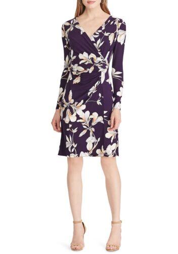 American Living//Ralph Lauren Purple-Multi Surplice Floral Stretch Jersey Dress