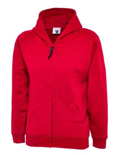 UC506 9Colour Work Wear Causal Top Uneek Kids Classic Zip Hooded 5//6-11//13YRS