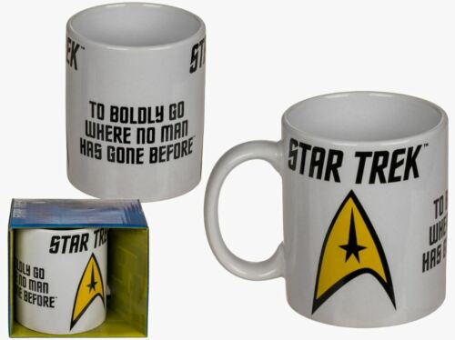 OFFICIAL STAR TREK LOGO TO BOLDLY GO COFFEE MUG CUP NEW IN GIFT BOX