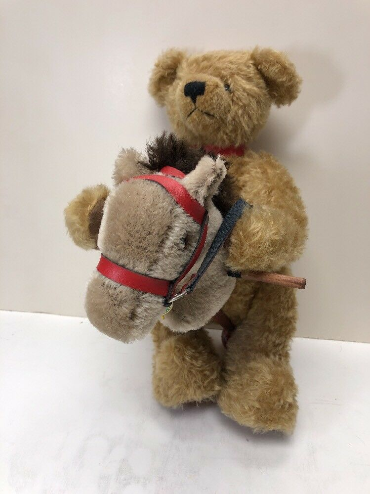 """15"""" Hermann Sonneberg Museum Bear 2001 With Hobbyhorse No 234 Of 500 Limited"""