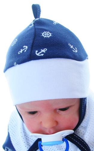 Mütze Baby Mützchen Haube Babymütze Kinder Blau Anker zum Binden NEU