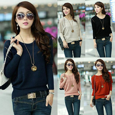 30 - 42 Punto Pullover Suelto Suéter Mujer Jersey Tops T Shirt Pullover Cárdigan