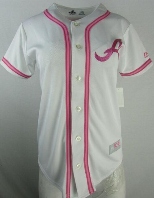 sale retailer ac5b4 9feb0 Atlanta Braves Girls Pink MLB #8 Upton Majestic Jersey
