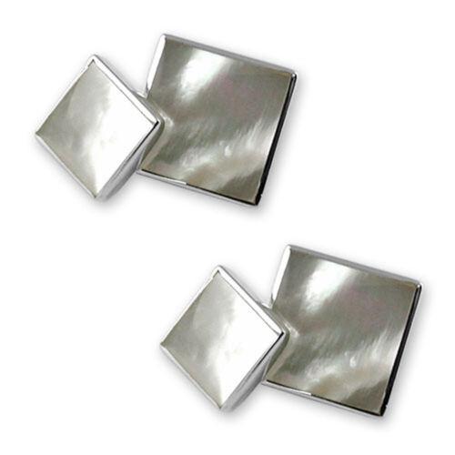 Sterling Silver madreperla BIADESIVO CHAINLINK cuflinks 3
