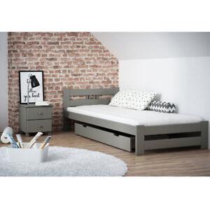Das Bild Wird Geladen Set Kinderzimmer Holzbett Grau Schlafzimmer Set  Matratze Nachttisch