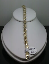 New Men's 10K Yellow Gold Thick Rope Bracelet 5 mm 7 Inches Long # A3B3