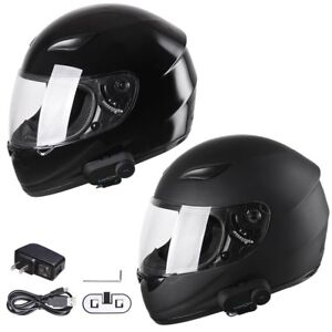 DOT Motorcycle Full Face Adult Helmet Size M-XL w/ Bluetooth Wireless Headset