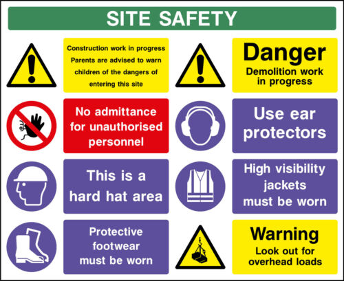 10 x MultiPack Large Site Safety Notice Sign 800mm x 600mm