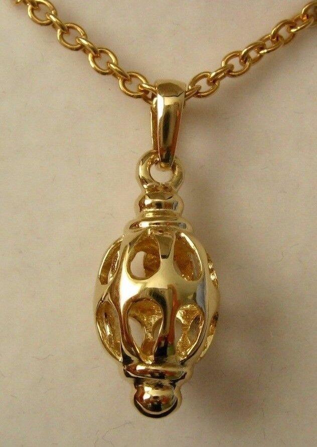 GENUINE 9K 9ct  SOLID gold  FILIGREE DROP PENDANT