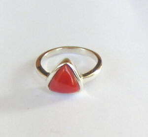 Gilded 925 silver and coral ring