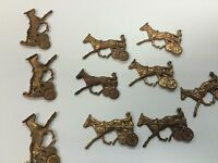 Metal Stampings For Steampunk Jewelry Horse Harness Wheels Rider Lot Of 20