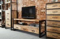 COSMO INDUSTRIAL RECLAIMED METAL AND HARD WOOD LARGE TV UNIT