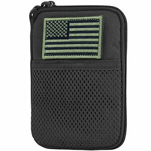 NEW Condor MA16 MOLLE Passport ID Wallet Phone Pocket Pouch w/ USA Flag Black