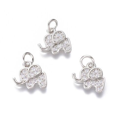 20pcs Brass Micro Pave Cubic Zirconia Pendants Elephant Dangle Charms 10x11mm