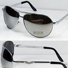New Mens Mirrored Lens Metal Frame Sunglasses Shades Fashion Silver Designer 022