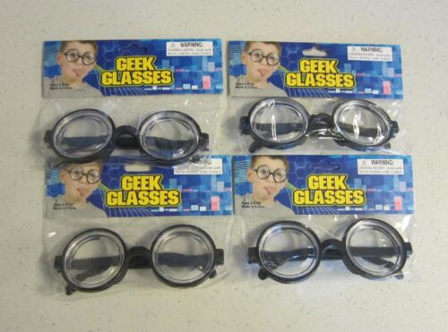 4 PAIR KIDS BLACK NERD GLASSES THICK LENS GEEK SHADES COSTUME COKE BOTTLE FRAMES