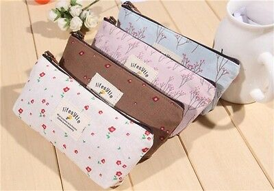 1xHome School Rural Style Floral Pencil Pen Case Pouch Bags For Students Kids S