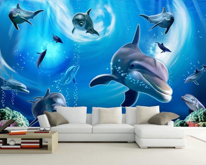 3D Ozean Delphin Natürlich 871 Tapete Wandgemälde Tapeten Bild Familie DE Summer