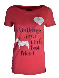 d9eaa4a2 Details about EMPORIO ARMANI WE LOVE DOGS DIAMOND HEART PRINT BULLDOGS LONG  T-SHIRT SALMON RED