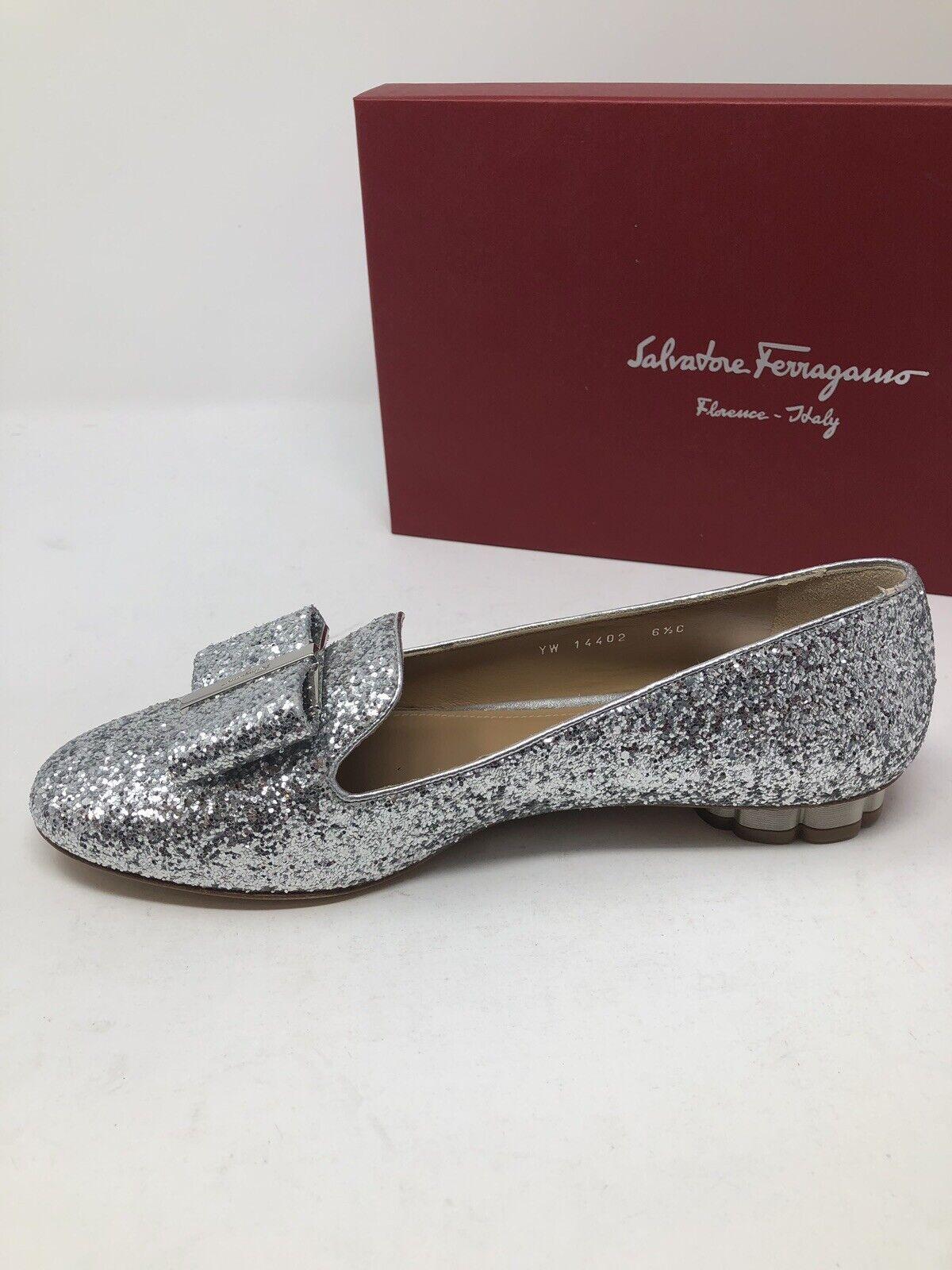 650 650 650 Nouveau SALVATORE FERRAGAMO Chaussures Pointure Femme Argent Sarno Chaussures Taille 6.5 37 c2ec4e