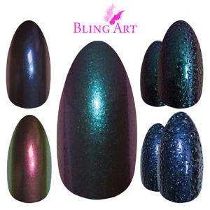 Bling-Art-False-Nails-Blue-Green-Purple-Chameleon-Colour-Change-Fake-Medium-Tips