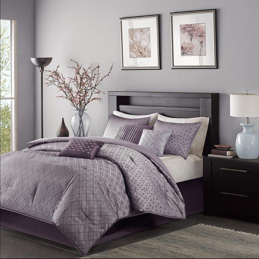 New Queen Size Biloxi 7 Piece Comforter Set Purple Modern Madison Park MP10-919