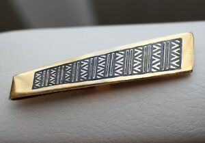 Gold-Plated-SILVER-925-Vintage-USSR-Men-039-s-Tie-Clip-Clasp-Pin-Niello-enamel-Solid
