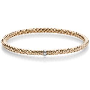 Himbeer-Armband-Armreif-Armschmuck-elastisch-4mm-585-Gold-Rotgold-fuer-Damen