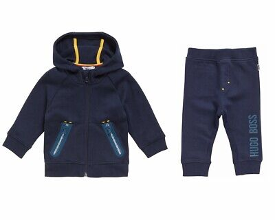 Boys Hugo Boss J25962 849 Hooded Zip Top Navy Sweatshirt