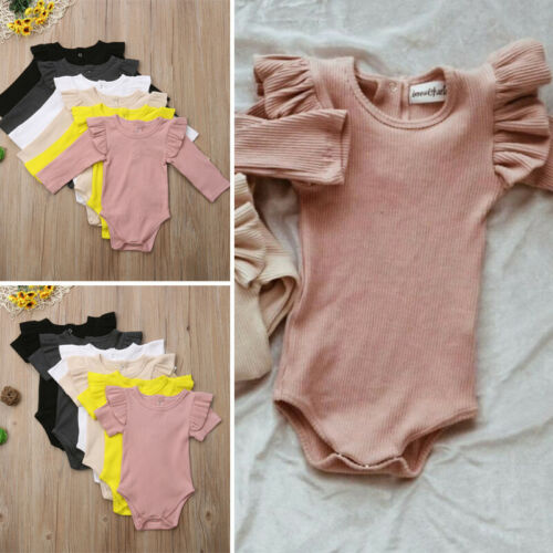 Newborn Baby Girls Top Romper Jumpsuit Bodysuit Comfy Outfits Solid Clothes 0-2T