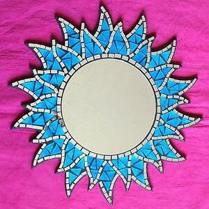 Mosaic-Sun-Mirror-Glass-Wall-Hanging-Fair-Trade-Sunburst-Red-or-Blue-Hand-Made