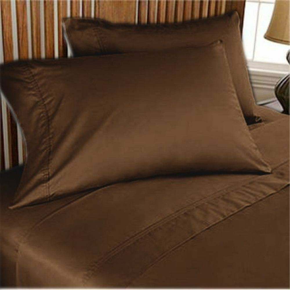 4 PCs Water Bed Sheet Luxury Hotel 100% Cotton 1000 TC All Size Chocolate Solid