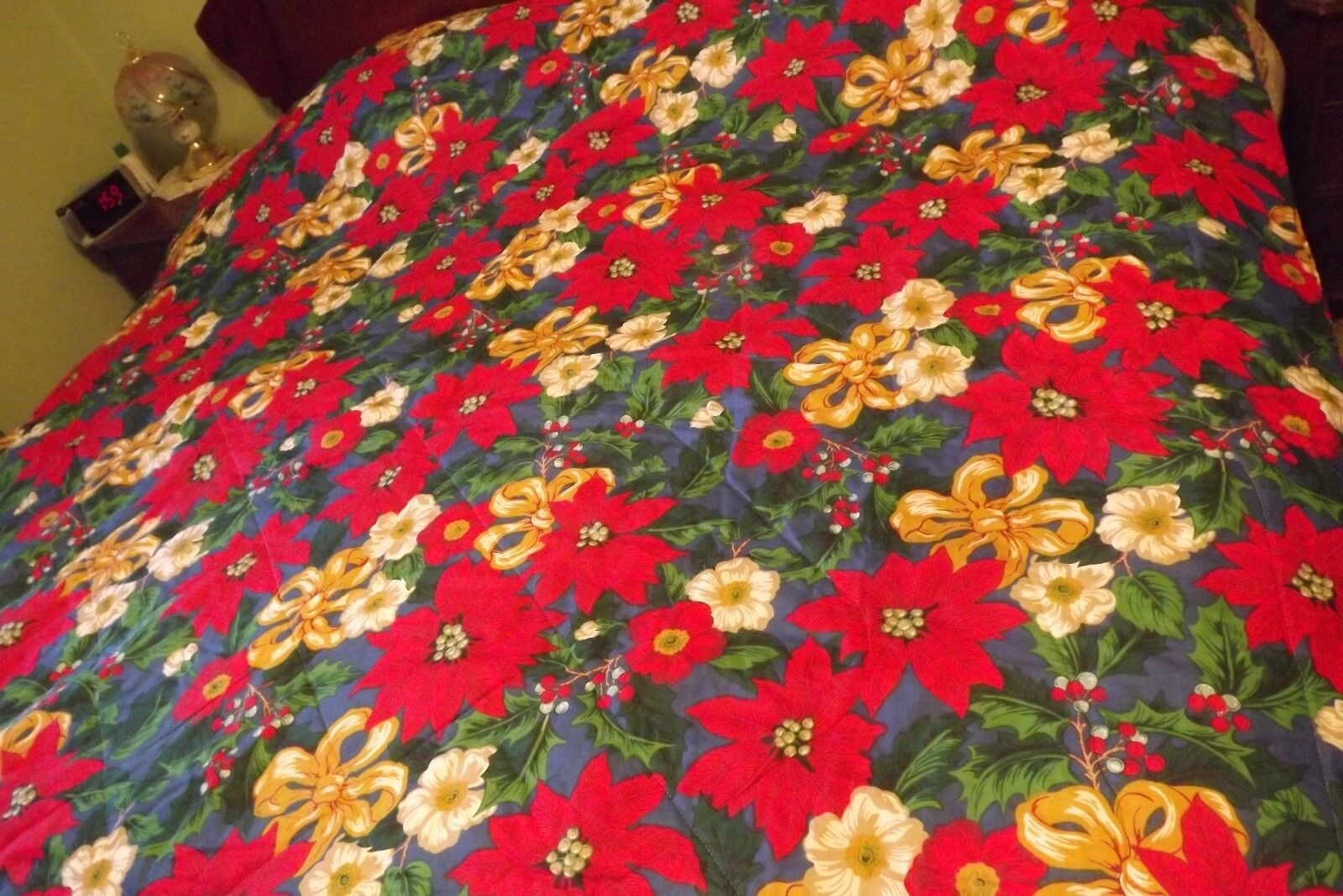 Christmas Queen Bedspread Poinsettia Holly Holiday With Sham 87X80
