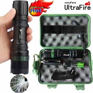 Ultrafire Zoomable 50000LM T6 LED Flashlight Torch Lamp Battery+Charger+Case UK