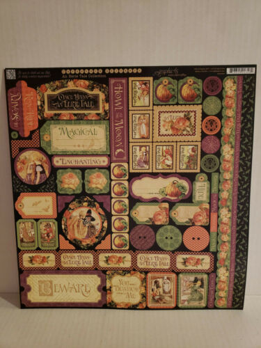 Graphic 45 ~ AN EERIE TALE Cardstock Stickers /& 5 Sheets 12x12 Cardstock NEW