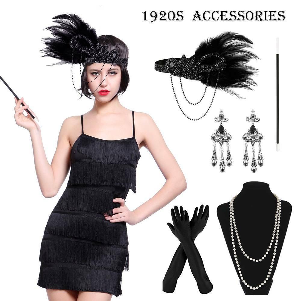 5pcs Ladies Gatsby Flapper 1920s Costume 20s Charleston Headpiece Accessories