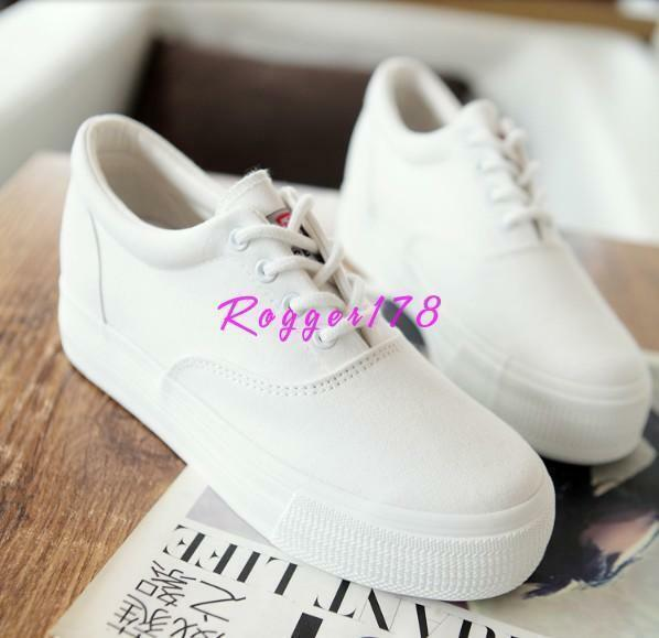Womens Sneakers Canvas Lace Up High Platform Sport athletic creeper Casual Shoes