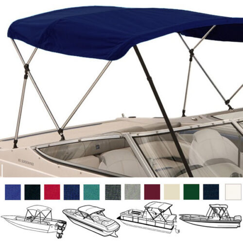 "W// BOOT /& REAR POLES BIMINI TOP BOAT COVER NAVY 3 BOW 72/""L 54/""H 54/""-60/""W"