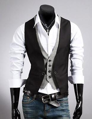 Mens Elegant Design Casual Slim Fit Skinny Dress Vest Waistcoat Unusual XS/M/XL