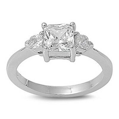 1.50CT PRINCESS CUT THREE STONE ENGAGEMENT .925 Sterling Silver Ring Sizes 5-10