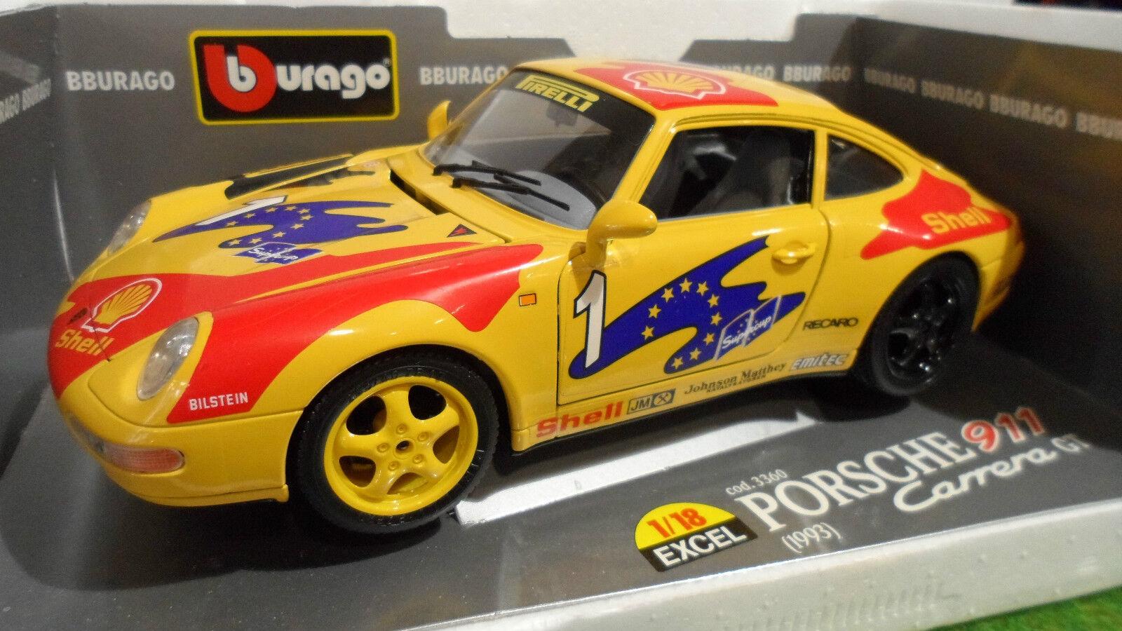PORSCHE 911 voitureRERA 993 GT   1  Jaune SUPERCUP 1 18 BURAGO 3360 voiture miniature  les dernières marques en ligne