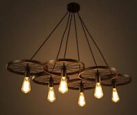 Wagon Wheel Chandelier Cabin And Lodge Decor Rustic Lights Fixture Ceiling Lamp on sale