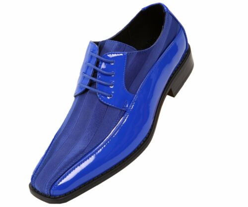 VIOTTI homme BLEU ROYAL PATENT Dress Oxford Avec Satin Rayé Chaussure Style 179-052