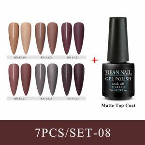 RBAN-NAIL-7bottles-Soak-Off-Glitter-UV-Gel-Nail-Polish-Matte-Top-Coat-Set-8ML