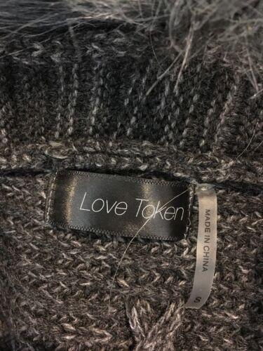 Kærlighed Sweater Open Sz Faux S Asymmetrisk Cardigan Trækul 791118 Fur Token FU4nAqrFB
