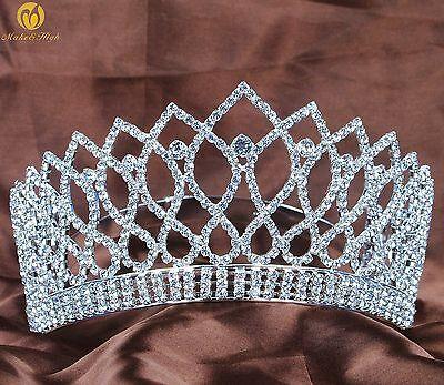 "3.5"" Wedding Bridal Tiara Clear Rhinestones Crown Silver Headband Hair Jewelry"